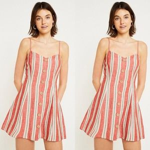 Urban Outfitters Striped Linen Button Mini Dress